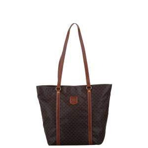 Celine Brown Coated Canvas Macadam Tote Bag