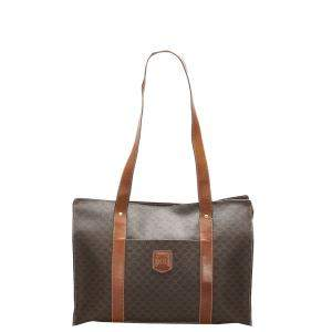 Celine Brown/Beige Coated Canvas  Macadam Tote Bag