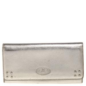 Celine Metallic Gold Leather Flap Continental Wallet