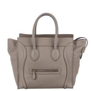 Celine Brown Leather Luggage Tote