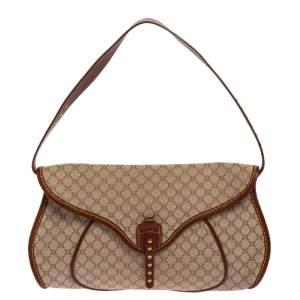 Celine Beige/Brown Macadam Canvas and Leather Studded Shoulder Bag