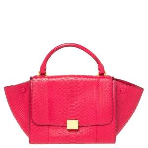 Celine Magenta Python Mini Trapeze Top Handle Bag