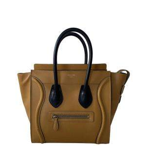 Celine Brown Leather Luggage Micro Tote Bag