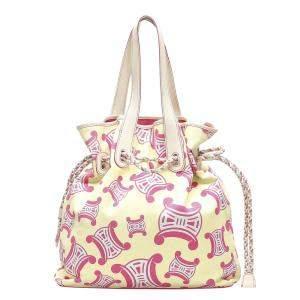 Celine White Canvas Fabric Tote Bag