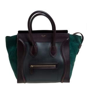 Celine Tri Color Leather and Suede Mini Luggage Tote