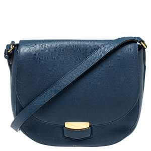 Celine Navy Blue Leather Medium Trotteur Shoulder Bag