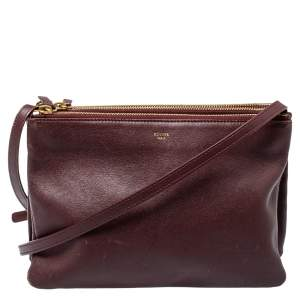 Celine Burgundy Leather Large Trio Crossbody Bag