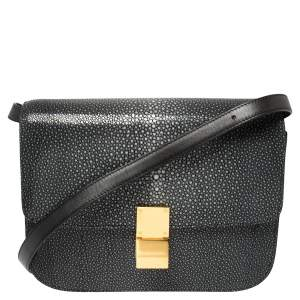 Celine Dark Grey/Black Stingray and Leather Medium Classic Box Shoulder Bag