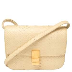 Celine Cream Python Medium Classic Box Shoulder Bag