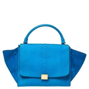 Celine Blue Python and Suede Medium Trapeze Top Handle Bag