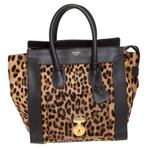 Celine Dark Brown Leopard Print Calf Hair and Leather Envelope Luggage Tote