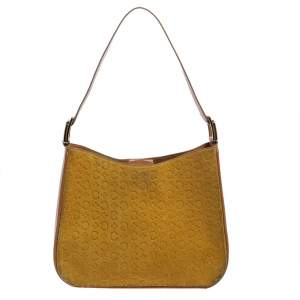 Celine Yellow Leather and Suede Monogram Embossed Hobo