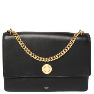 Celine Black Leather Flap Chain Shoulder Bag