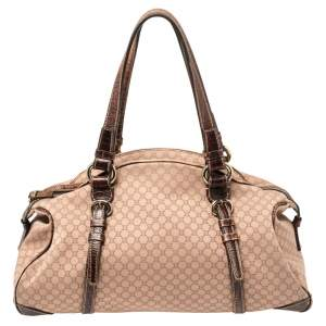 Celine Pink/Brown Macadam Canvas and Leather Satchel