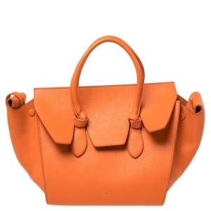 Celine Burnt Orange Leather Mini Tie Tote