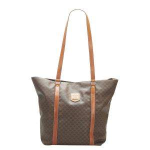 Celine Brown Plastic PVC Leather Macadam Tote Bag
