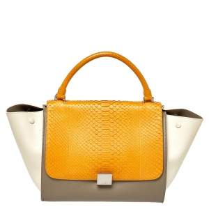 Celine Tri Color Leather and Python Medium Trapeze Top Handle Bag