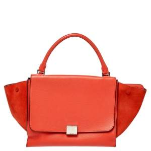 Celine Orange Leather and Suede Medium Trapeze Bag