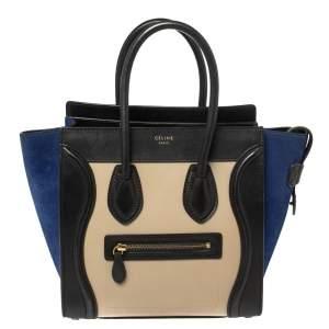 حقيبة يد سيلين لاغيدج صغيرة سويدي و جلد ثلاثي اللون