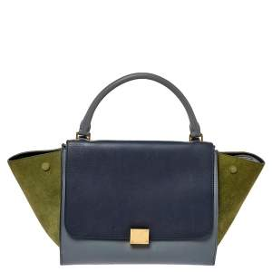 Celine Tricolor Leather and Suede Medium Trapeze Top Handle Bag
