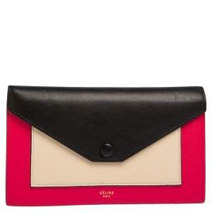 Celine Tri Color Leather Envelope Clutch