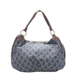 Celine Blue/Brown Macadam Denim and Leather Bittersweet Hobo bag