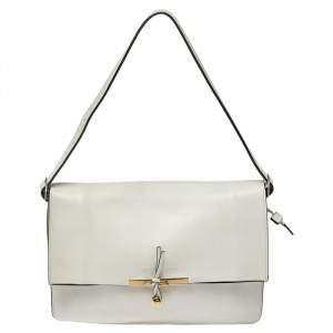 Celine Off White Leather Clasp Flap Shoulder Bag