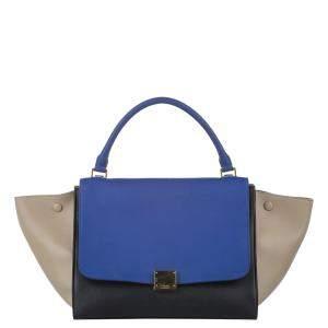 Celine Tricolor Leather Trapeze Medium Bag