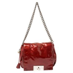 Celine Red Patent Leather Turnlock Flap Chain Bag