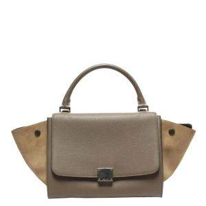 Celine Grey Leather Small Trapeze Top Handle Bags