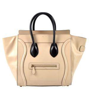 Celine Beige Leather Luggage Mini Tote Bag