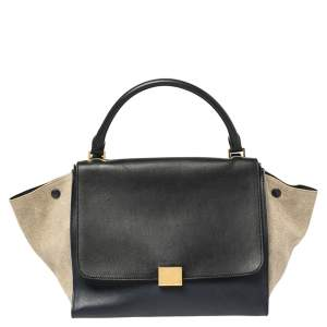 Celine Tri Color Leather and Canvas Medium Trapeze Bag