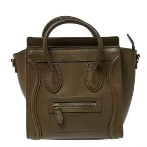 Celine Olive Green Leather Nano Luggage Tote