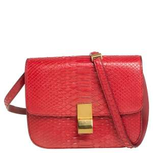 Celine Red Python Medium Classic Box Shoulder Bag