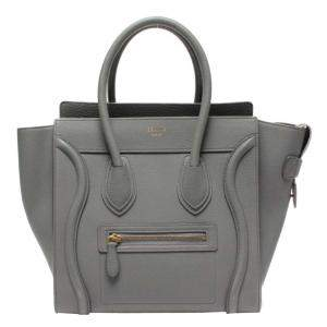 Celine Grey Leather  Luggage Tote
