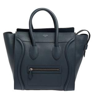 Celine Blue Bullhide Leather Mini Luggage Tote