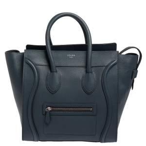 حقيبة يد سيلين ميني لاغيدج جلد أزرق داكن