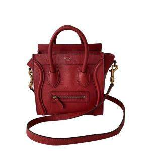 Celine Red Leather Nano Luggage Tote Bag