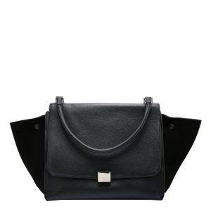 Celine Black Calfskin Leather Trapeze Large Bag