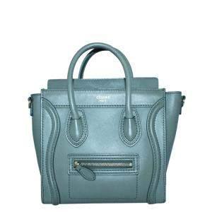 Celine Green Leather Luggage Micro Satchel Bag