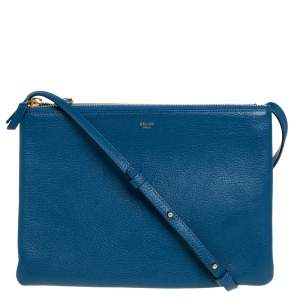 Céline Blue Leather Large Trio Crossbody Bag