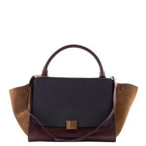 Celine Tricolor Leather & Suede Trapeze Medium Bag