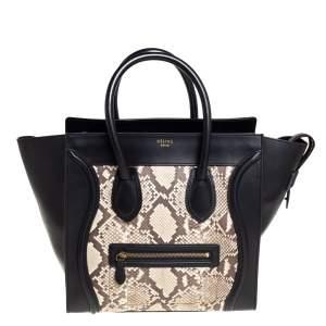 حقيبة يد سيلين لاغيدج صغيرة جلد و جلد ثعبان بيج و أسود