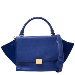 Céline Blue Suede and Leather Mini Trapeze Top Handle Bag