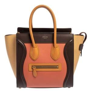 Celine Multicolor Leather Micro Luggage Tote