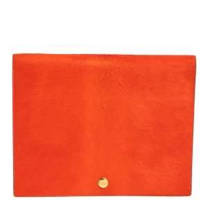 Celine Orange/Black Calfhair and Leather Double Flap Clutch