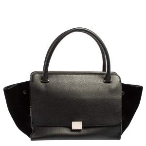 Celine Black Leather and Suede Medium Trapeze Top Handle Bag