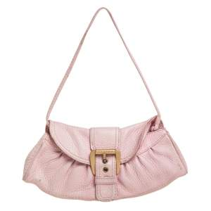 Celine Pink Textured Leather Buckle Embellished Shoulder Bag