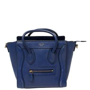 Céline Blue Leather Nano Luggage Tote