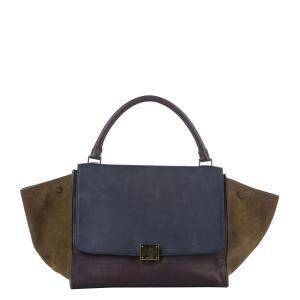 Celine Brown Leather and Suede Trapeze Medium Bag